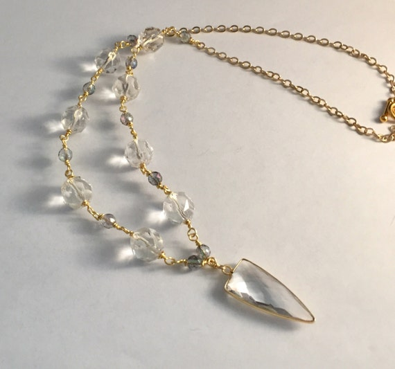 Natural Crystal Pendant and Beaded Necklace