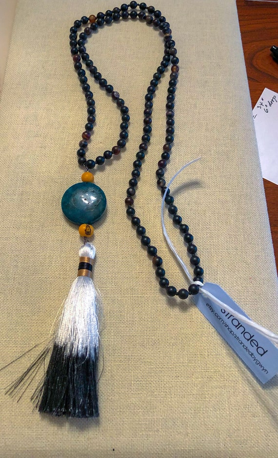 Onyx Beaded Necklace with Chrysocolla, Tagua Nut and Tassel Drop