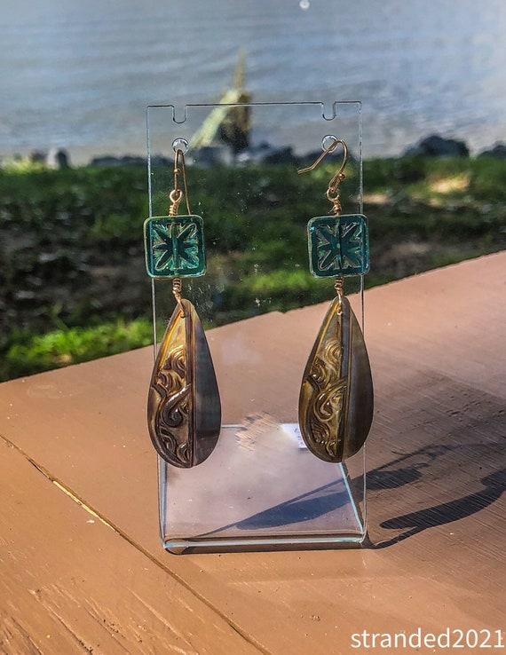 Black Lip Shell and Czech Glass Earrings