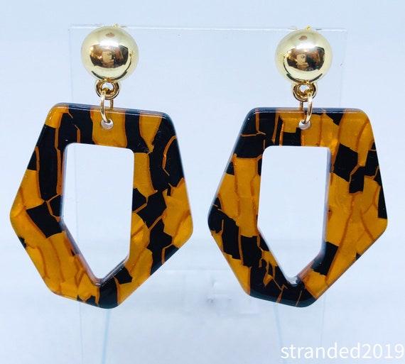 Gold Mosaic Tortoise Shell Earrings