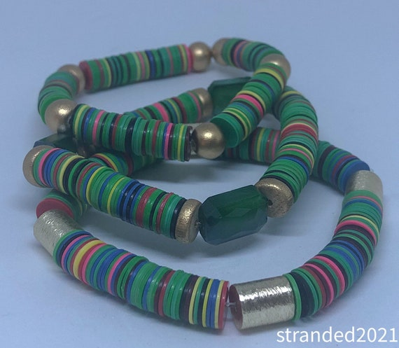 Stackable Green Recycled Vinyl Bracelets