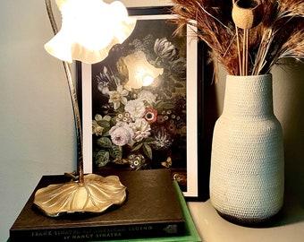 Vintage Gooseneck Lilypad  Leaf Desk Table Lamp Hold Brass Tulip Shade