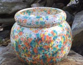 African Violet pot, large, round, White, orange, yellow, green, cobalt, self watering, modern, minimalist, Violet pot