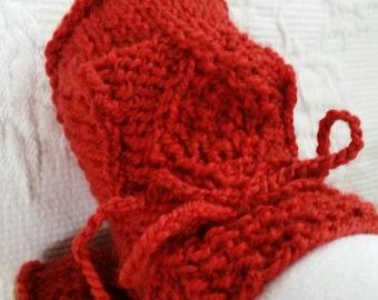Organic wool Irish design baby sheepskin booties. Red