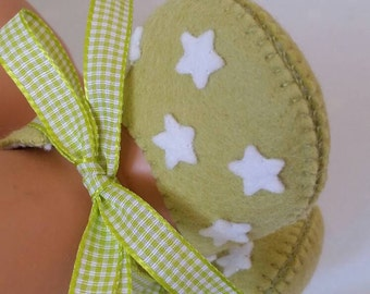 Lime green with white stars woolfelt baby shoes