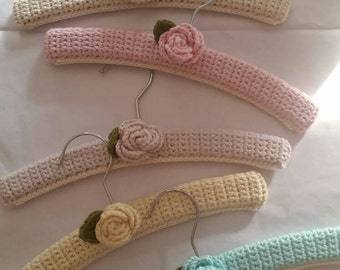Pick any two shabby chique crochet baby hangers from Organic cotton
