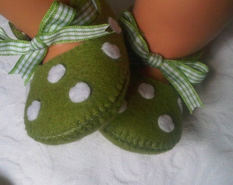 Green with white polka dots