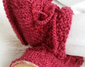 Organic wool Irish design baby sheepskin booties. Raspberry pink
