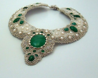 Angelique Bead Embroidered Choker Collar, Green Moss Agate, Fresh Water Pearls, Silver, White