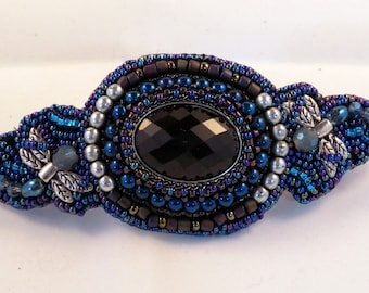 Dragon Fly Bead Embroidered Barrette, blues, black, silver, Made in France barette clip