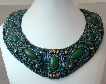 Bead Embroidered Collar . ENVY, Green Moss Agate, Bronze Fresh Water Pearls, Antique Gold