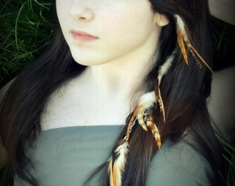 Feather Hair Extension - Clip-In Feathers, Hair Feathers, Women's Hair Accessories - Long Brown Striped Hair Extension