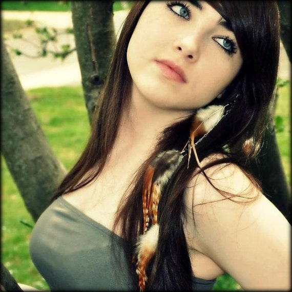 Feather Hair Extension Clip In Feathers Hair Feathers Long Brown Striped Hair Extension