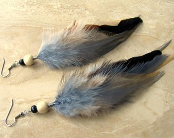 Beaded Feather Earrings - Grey and Black Feathers - Frost