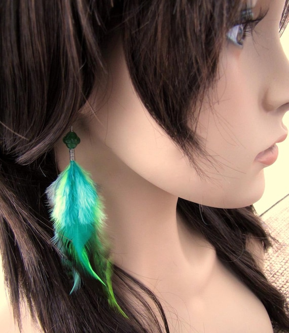 Beaded Feather Earrings Green Feather Earrings Emerald Isle