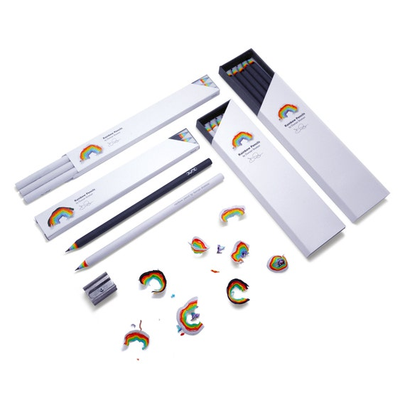 12pcs-Rainbow Pencils recycled paper pencil set for unique stationery addicts Planner Pencil,School Supplies,Gift WHITE basic 3 pack