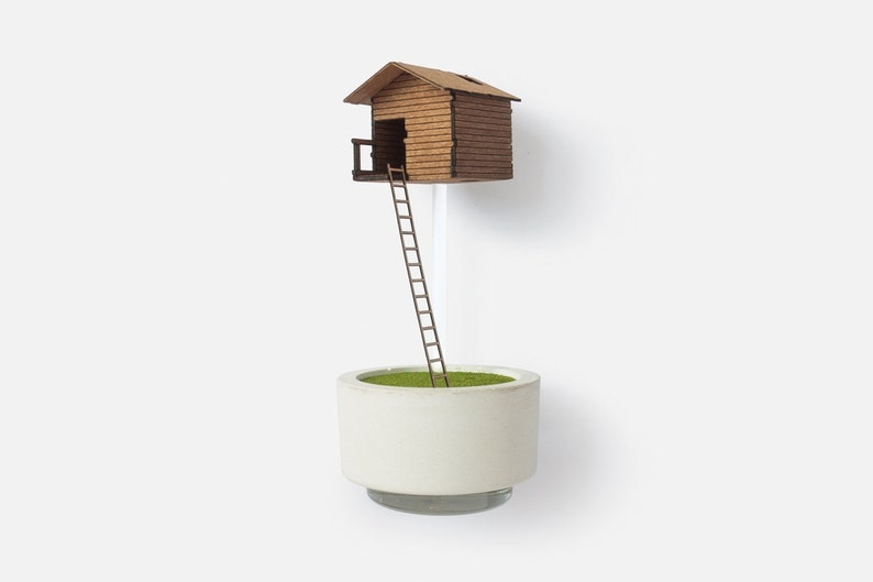 Tree House Vase  for single flowers. Miniature wooden image 0