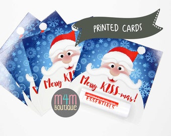"PRINTED Merry KISS-mas Cards | 4""x4"" | skincare, lip balm, lip shield, chap stick, christmas gift"