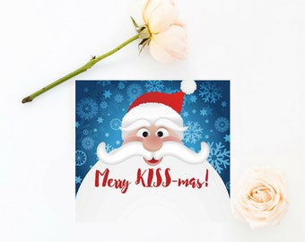 Merry KISSmas Cards • Front and Back •  Instant Download, Editable Template, Digital, Templett [id:346698]