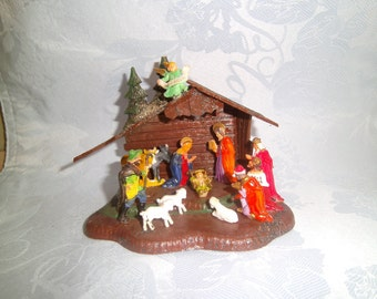 Vintage 1950's - 1960's Miniature Plastic Nativity Scene - Classic Christmas Display - A Shiney Bright Product - Made In Hong Kong