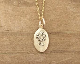 Handmade Sunflower Necklace, Botanical Necklace, Wildflower Necklace, Nature Jewelry, Silver Jewelry, Bronze Jewelry