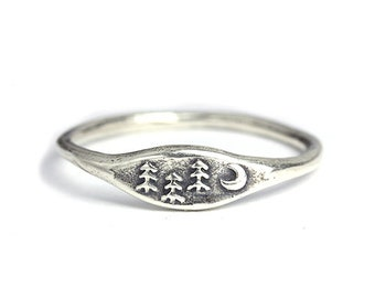 Handmade Forest Ring, Nature Ring, Tree  Ring, Nature Jewelry, Sterling silver ring, Bronze Jewelry