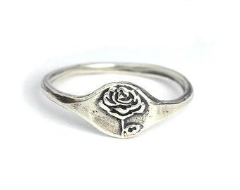 Handmade Rose Ring, Nature Ring, Flower Ring, Botanical Ring, Sterling silver ring, Bronze Jewelry