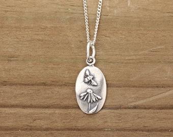 Handmade Echinacea + Bee Necklace, Botanical Necklace, Wildflower Necklace, Nature Jewelry, Silver Jewelry, Bronze Jewelry