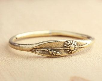 Handmade Daisy Ring, Botanical Ring, Wildflower Ring, Nature Jewelry, Silver Jewelry, Bronze Jewelry
