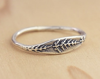 Handmade Fern Rings, Botanical Ring, Wildflower Ring, Nature Jewelry, Sterling silver ring, Bronze Jewelry