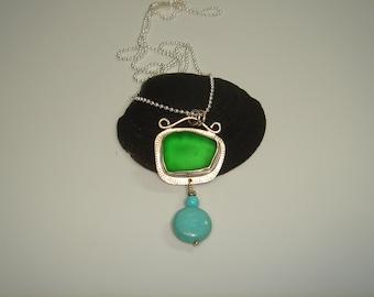 Bright Green Sea Glass Sterling Silver Pendant with Silver Chain