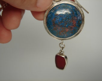 Silver and Enameled Pendant with Red Sea Glass