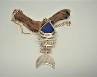 Stunning Cobalt Blue Sea Glass Bonefish Necklace