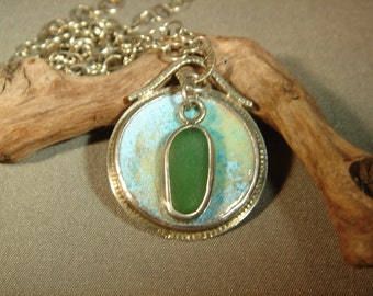 Enameled Copper Medallion Necklace with Sea Glass