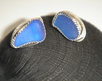 Deep Blue Pure Sea Glass Stud Earrings