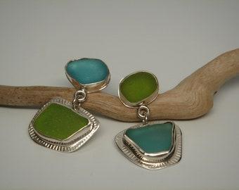 Aqua and Lime Green Pure Sea Glass Earrings