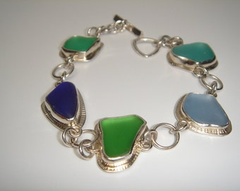 Pure Sea Glass Blues and Greens Handcrafted Silver Bracelet