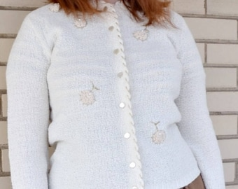 e7aa824d44 60s Floral Applique Cardigan