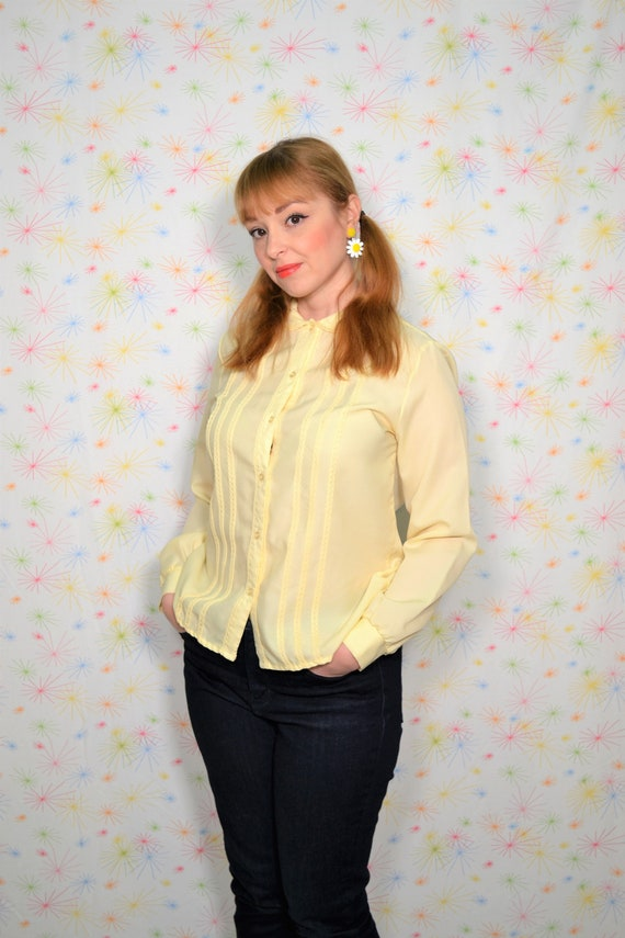 Soviet Vintage Silk Blouse Blue with Yeloow oriental geometric pattern Jacket Woman Clothing Gift for Her USSR woman fashion shirt dress