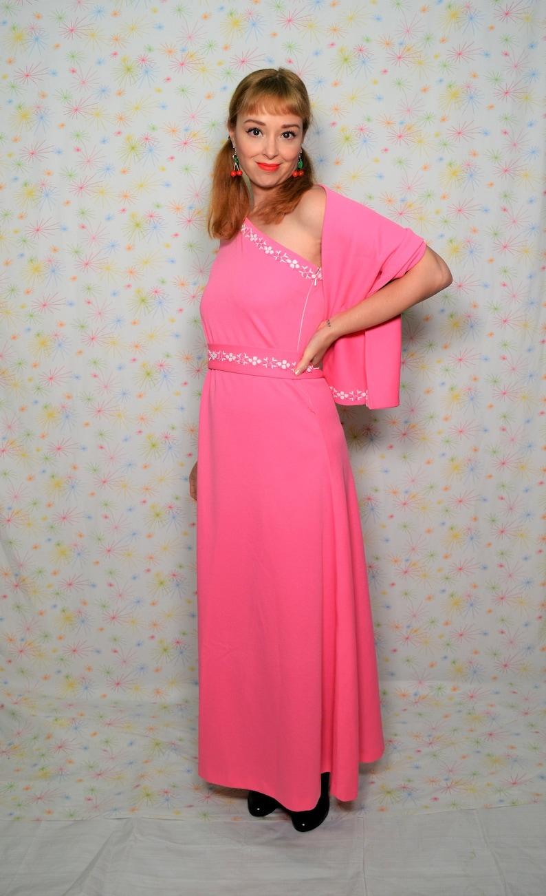 a10a011c7d 70s Hot Pink Maxi Dress XXS Bridesmaids Dress with Wrap