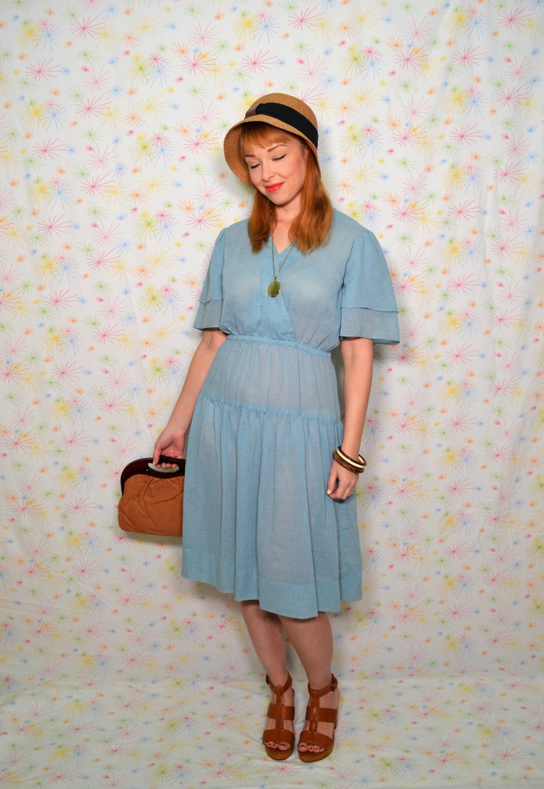 77e5d3641da 70s Sheer Chambray Blue Dress Size Small Vintage Cotton