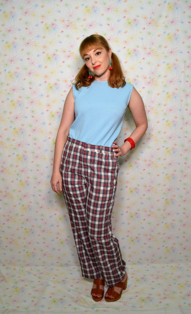 6a0f2624af 80s Menswear Plaid Pants 32 Waist Straight Leg Vintage | Etsy