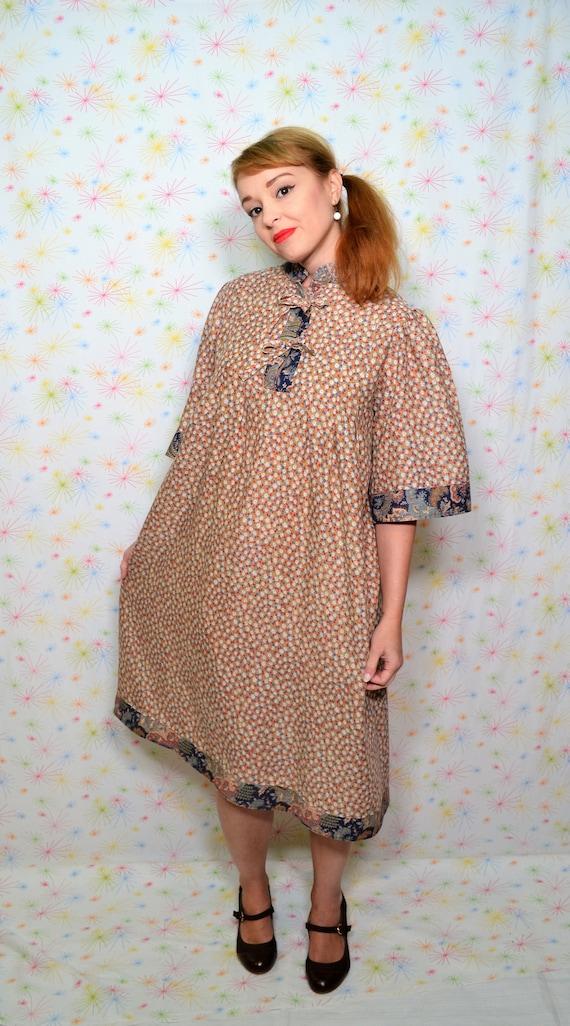70s Hippie Smock Dress Plus Size Vintage Clothing 1970s Etsy