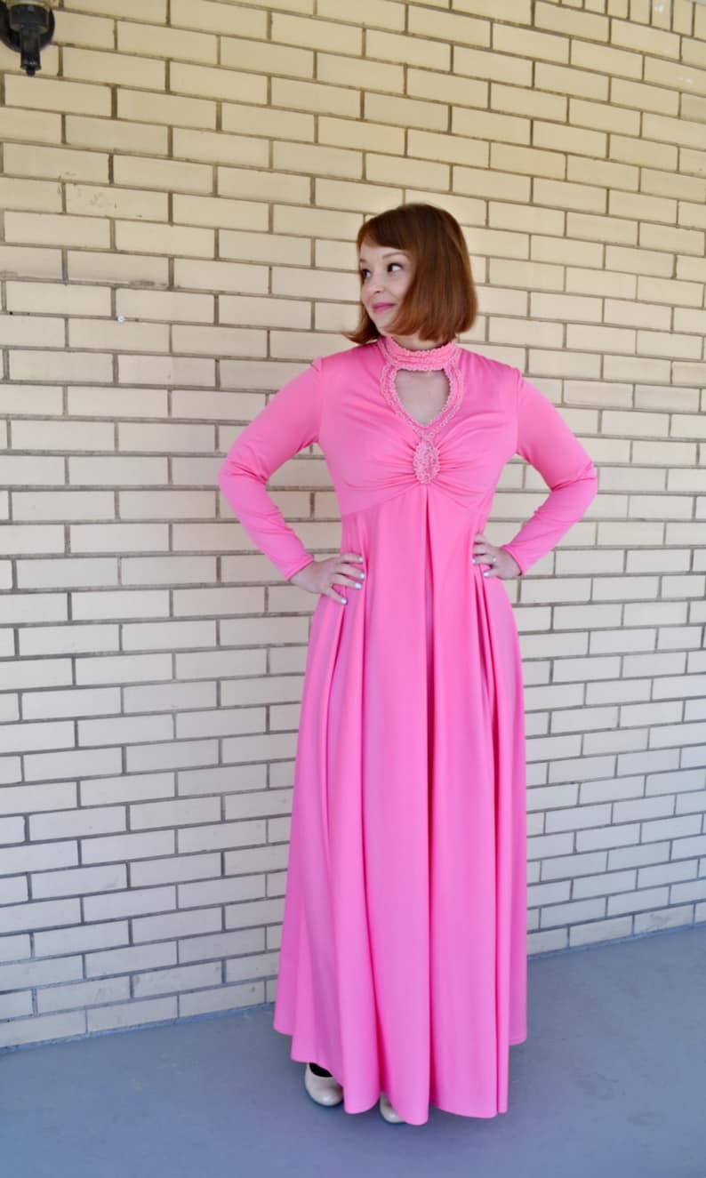 9c86c13153 70s Empire Waist Pink Maxi Dress Size Small Vintage Formal