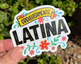 "Spanish vinyl sticker ""Orgullosamente Latina""perfect for decorating tumblers, laptops, coffee mugs, etc."