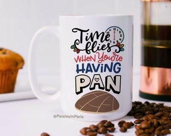 "Spanglish Coffe Mug, Pan Dulce food pun ""Time Flies When You're Having Pan"", 15oz Coffee Mug"