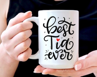 """Spanglish Gift for Aunt """"Best Tia Ever"""", 15 oz Coffee Mug, hand lettered design"""