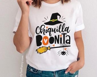 Chiquilla Boo-nita, Women's Halloween T-Shirt, Gift for Her, Mexican Pun