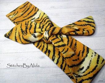 Tiger Stripe Head Wrap Or Nylon Bow Clip