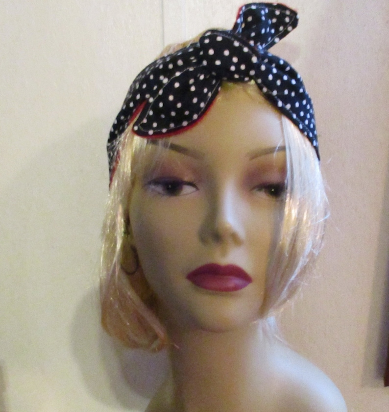 8193df7e30c Women s Headbands that Tie Fabric Headband Black Dots
